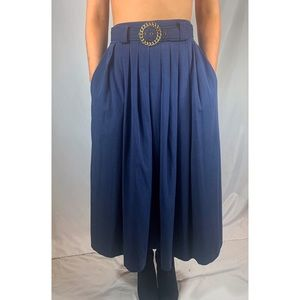 Vintage, navy blue, belted, pleated maxi skirt